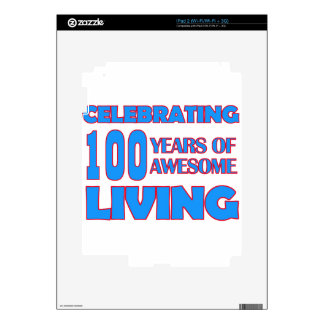 100 years old birthday designs decal for iPad 2