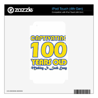 100 YEARS OLD BIRTHDAY DESIGNS SKINS FOR iPod TOUCH 4G