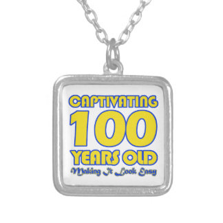 100 YEARS OLD BIRTHDAY DESIGNS SQUARE PENDANT NECKLACE