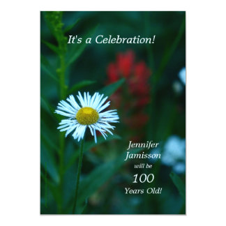 100 Years Old Birthday Party Invites White Flower