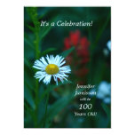 100 Years Old Birthday Party Invites White Flower Custom Invite