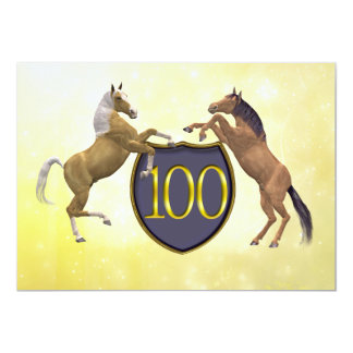 100 years old birthday party rearing horses card
