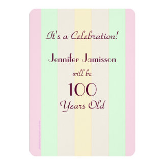 100 Years Old Pastel Striped Party Invite