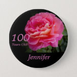 "100 Years Old, Pink Rose Button Pin<br><div class=""desc"">This pin is made with an original photograph of a single perfect pink rose. This unique pin is a great gift for someone who is 100 Years Old. They can wear it with style at their 100th birthday party! It can be personalized, both name and number of years. It is...</div>"