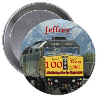 100 Years Old, Railroad Train Birthday Button Pin