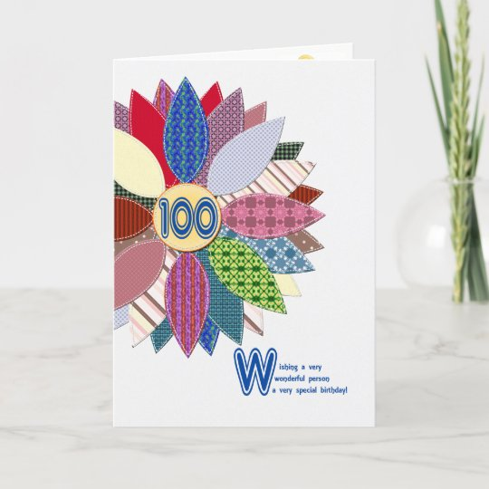 100 Years Old Stitched Flower Birthday Card
