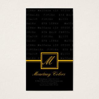 100 Yellow Make Up Words Artist Business Card