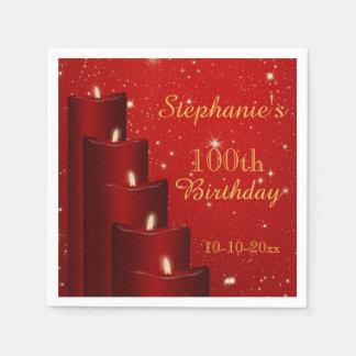 100as velas elegantes del cumpleaños con la chispa servilleta de papel