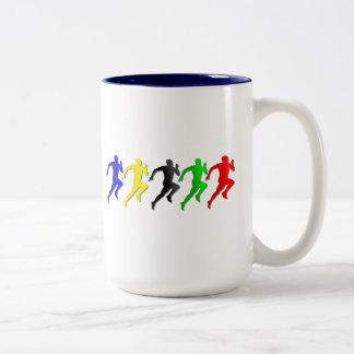 100m 200m 400m 800m Runners Running Run Two-Tone Coffee Mug