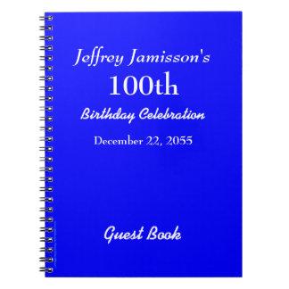 100o Azul real del libro de visitas de la fiesta Libros De Apuntes Con Espiral