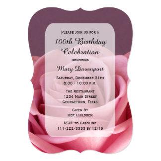 """100o Belleza subió de la fiesta de cumpleaños Invitación 5"""" X 7"""""""