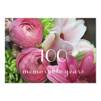 """100o ¡Celebración del cumpleaños! - Flores rosadas Invitación 5"""" X 7"""""""