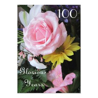 """100o ¡Celebración del cumpleaños! - Ramo color de Invitación 5"""" X 7"""""""