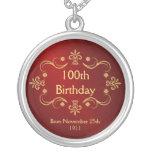 100o Collar del cumpleaños - colgante del marco de