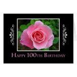 100o Color de rosa rosado del cumpleaños Felicitacion