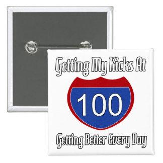 100o cumpleaños de la ruta 66 pin cuadrado