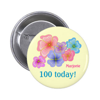 100o cumpleaños de las flores bonitas del pastel pin redondo 5 cm