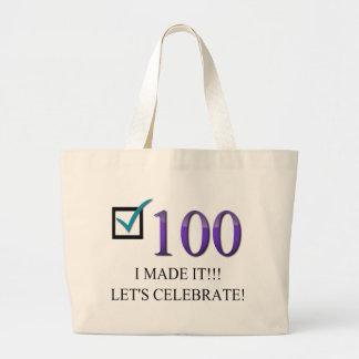 100o cumpleaños feliz bolsa tela grande