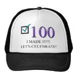 100o cumpleaños feliz gorras