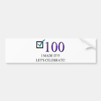 100o cumpleaños feliz pegatina para auto