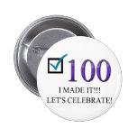 100o cumpleaños feliz pin redondo de 2 pulgadas