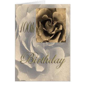 100o cumpleaños feliz subió sepia tarjeta de felicitación