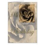 100o cumpleaños feliz subió sepia tarjetas