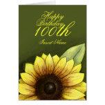 100o Cumpleaños floral Tarjeton