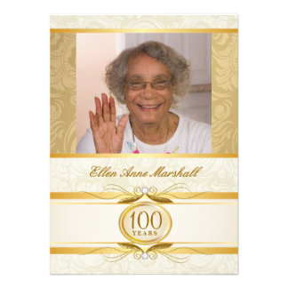 100o cumpleaños - invitación de la foto del damasc