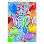 100o cumpleaños - tarjeta de cumpleaños del globo