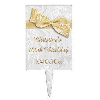 100o Damasco del cumpleaños y falso arco Palillos De Tarta