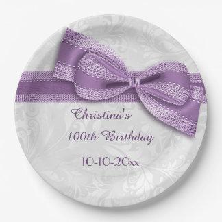 100o Damasco púrpura del cumpleaños y falso arco Plato De Papel De 9 Pulgadas