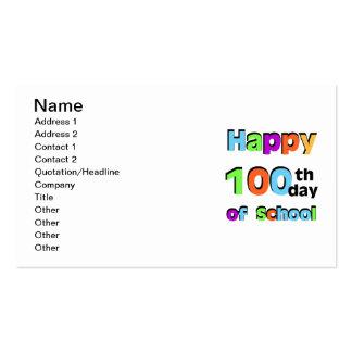 100o día feliz de escuela tarjetas de visita