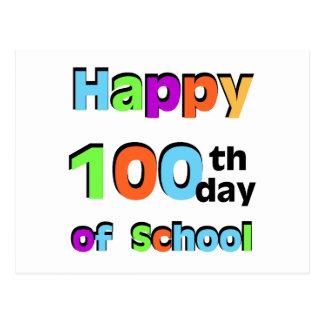 100o día feliz de escuela tarjeta postal