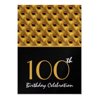 """100o El pavo real del oro del cumpleaños empluma Invitación 5"""" X 7"""""""