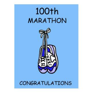 100o Enhorabuena del maratón, azul Tarjeta Postal