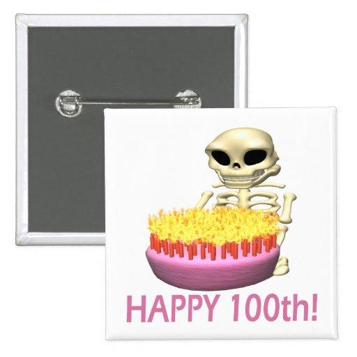 100o feliz pin cuadrada 5 cm
