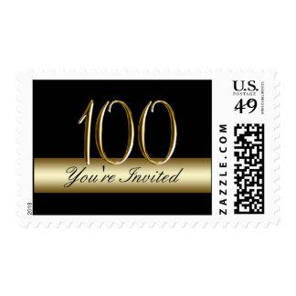 100o franqueo de la fiesta de cumpleaños del oro estampilla
