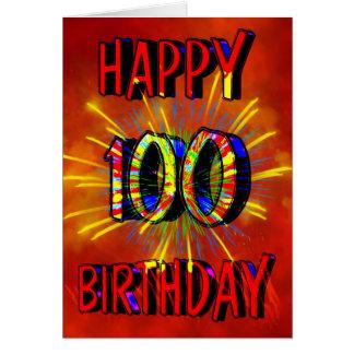 100o Fuegos artificiales del cumpleaños Tarjeta De Felicitación
