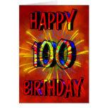 100o Fuegos artificiales del cumpleaños Tarjetas