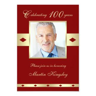100o Invitación Borgoña de la fiesta de cumpleaños