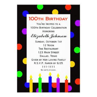 100o Invitación de la fiesta de cumpleaños -- Vela