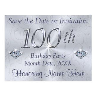 100o Las invitaciones de la fiesta de cumpleaños o Postal