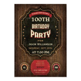 100o Pizarra y madera del vintage del cumpleaños Invitación 12,7 X 17,8 Cm