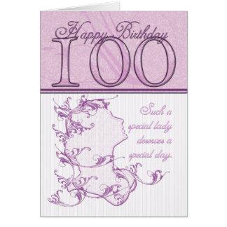 100o Rosa de la tarjeta del camafeo del cumpleaños