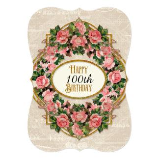 """100o Rosas del vintage del brillo del oro de la Invitación 5"""" X 7"""""""
