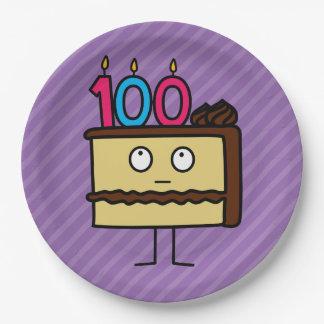 100o Torta de cumpleaños con las velas Platos De Papel