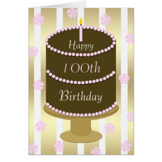 100o Torta de la tarjeta de cumpleaños en rosa