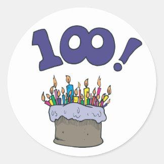 100o Torta Pegatina Redonda