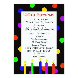 100o Velas y puntos de la invitación de la fiesta